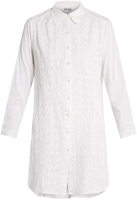 Juliet Dunn Floral-embroidered cotton shirtdress