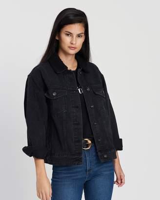 Cotton On Boyfriend Sherpa Trucker Denim Jacket