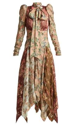 Zimmermann Unbridled Floral Print Contrast Panel Silk Dress - Womens - Multi