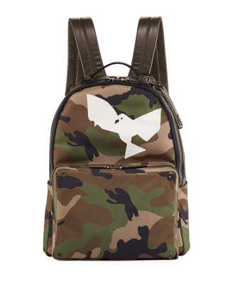 Valentino Men's Camo Backpack with Bird
