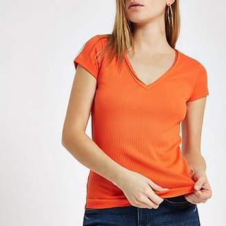 River Island Orange ribbed V neck T-shirt