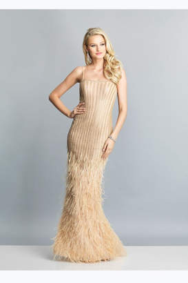 52ce6af849 Dave and Johnny Ostrich Feather Dress