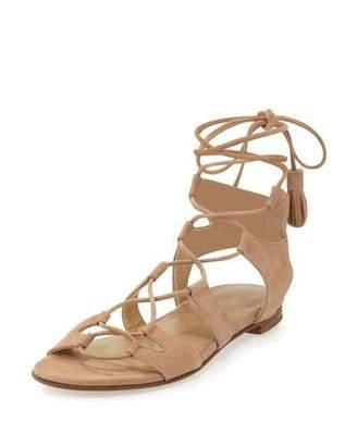 Stuart Weitzman Romanflat Suede Flat Gladiator Sandal, Cashew $445 thestylecure.com