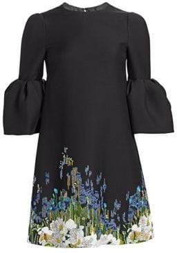 Valentino Garden Pailette Flutter Sleeve Dress