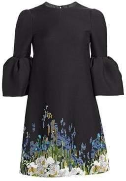 Valentino Women's Garden Pailette Flutter Sleeve Dress - Black Multi - Size 2