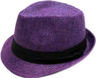 Simplicity Summer Sun Short Brim Straw Fedora Hat, LXL