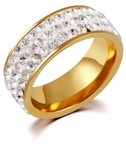 Edelstahl-Ring mit Strass