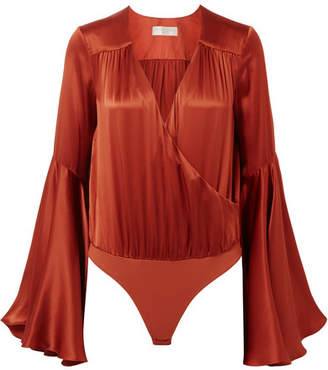 Caroline Constas Wrap-effect Silk-satin And Stretch-jersey Bodysuit