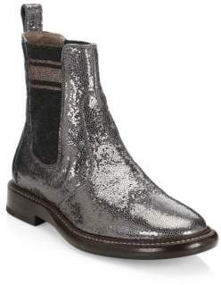 Brunello Cucinelli Broken Glass Leather Chelsea Boots