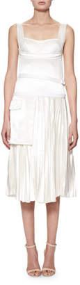 Victoria Beckham Sleeveless Bustier Plisse Midi Dress, Off White
