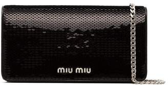Miu Miu black sequin leather wallet on a chain