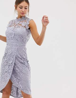 Paper Dolls lace wrap midi pencil dress in oyster gray
