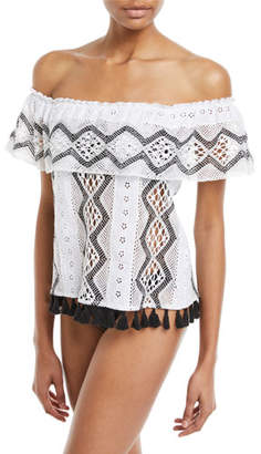 Queen & Pawn Hattusa Off-the-Shoulder Broderie Anglaise Top with Tassel Hem