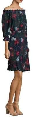 Saloni Off-The-Shoulder Fit-&-Flare Silk Dress