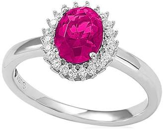 LeVian Suzy Jewelry Sterling Silver Created Ruby CZ Halo Ring