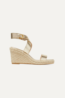 Stuart Weitzman Lexia Metallic Textured-leather Espadrille Wedge Sandals - Gold