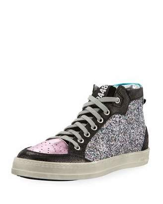 P448 Love Glitter & Leather High-Top Sneakers