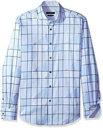 Bugatchi Men's Fitted Long Sleeve Asymetric Checks Sport Shirt
