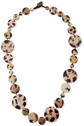 "Viktoria Hayman Long Shell Disc Necklace in Leopard, 42"""