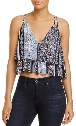 Olivaceous Printed Tiered Cropped Top $48 thestylecure.com