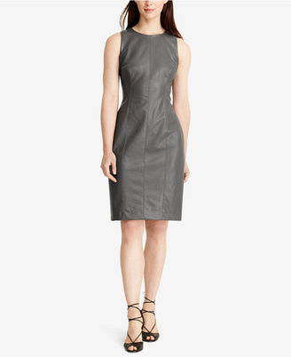 Lauren Ralph Lauren Faux-Leather Sheath Dress $164 thestylecure.com