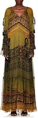 Alberta Ferretti Women's Abstract-Print Silk Chiffon Gown - Grn, Blk