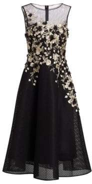 Neoprene Metallic Embellished Fit-&-Flare Cocktail Dress