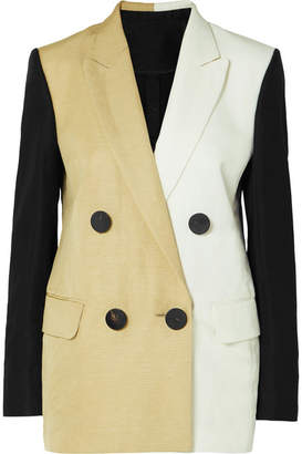 Petar Petrov Color-block Linen-blend Blazer - Beige