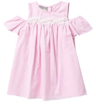 Pippa Pastourelle by and Julie Seersucker And Lace Cold Shoulder Dress (Toddler & Little Girls)