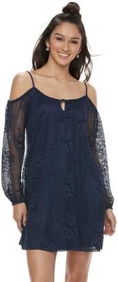 Juniors' Lily Rose Floral Lace Cold-Shoulder Shift Dress