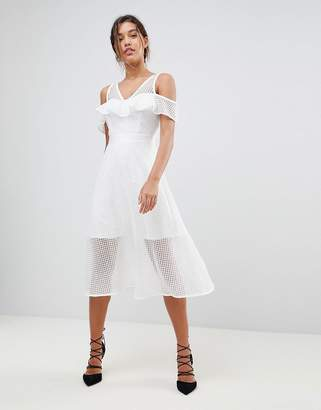 Morgan Frilly Cold Shoulder Full Prom Midi Dress