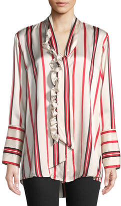 Maggie Marilyn Let's Be Frank Striped Button-Front Silk Shirt