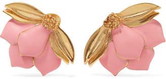 Oscar de la Renta - Painted Wild Lotus Gold-plated Clip Earrings - Pink