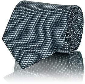 Brioni Men's Mini-Box-Print Silk Satin Necktie - Green