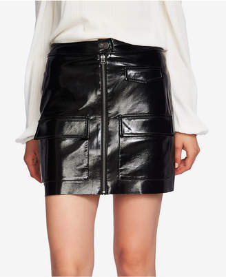 1 STATE 1.state Zip-Front Patent-Leather Mini Skirt