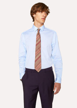 Paul Smith Men's Classic-Fit Sky Blue Thin Stripe Shirt With 'Artist Stripe' Cuff Lining