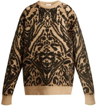 Raey Displaced Sleeve Tiger Knitted Sweater - Womens - Brown Multi