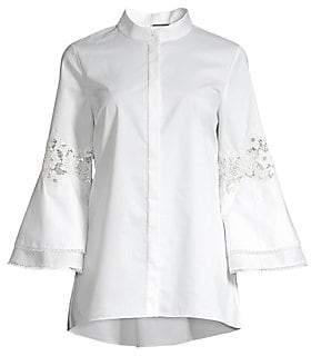 Elie Tahari Women's Kaila Lace Eyelet Kimono Sleeve Button-Down Shirt