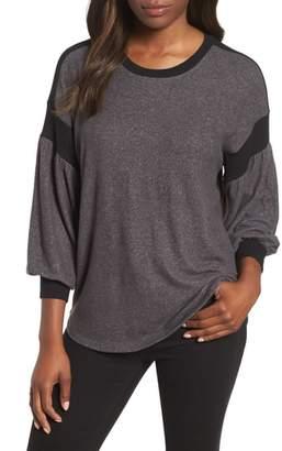 Bobeau Blouson Sleeve Fleece Knit Top