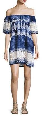 La Blanca Designer Jeans Tie-Dye Lace-Trim Off-the-Shoulder Mini Dress, Blue $99 thestylecure.com