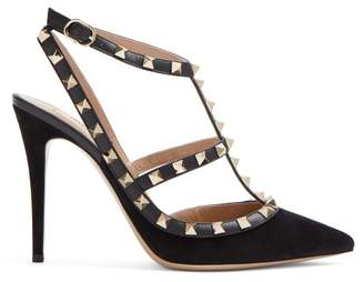 Valentino Rockstud Suede Pumps - Womens - Black
