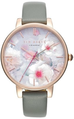 Women's Ted Baker London Kate Print Dial Leather Strap Watch, 38Mm $155 thestylecure.com