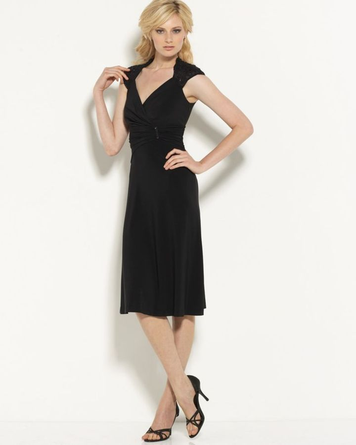Anne Klein Beaded Cap-Sleeve Dress
