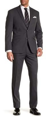 Kenneth Cole Reaction Gray Check Two Button Notch Lapel Performance Trim Fit Suit