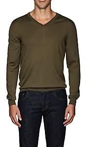 Eidos Men's Merino Wool-Cashmere V-Neck Sweater - Olive
