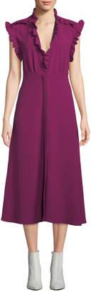 IRO Hurray Ruffle Split-Hem Midi Dress