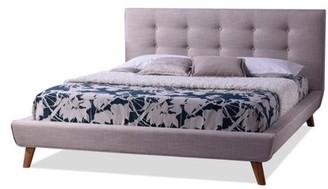 Baxton Studio Jonesy Scandinavian Style Mid-century Upholstered Platform Bed, Multiple Sizes, Multiple Colors