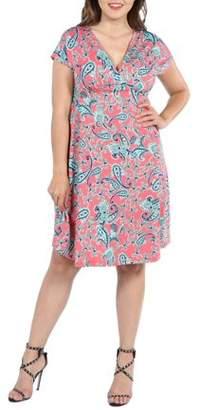 24/7 Comfort Apparel 24Seven Comfort Apparel Allie Short Sleeve Coral Pink Empire Waist Plus Size Mini Dress