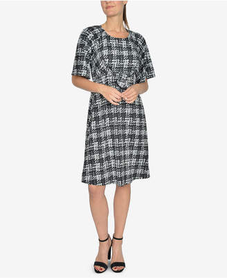 NY Collection Printed Tie-Front A-Line Dress