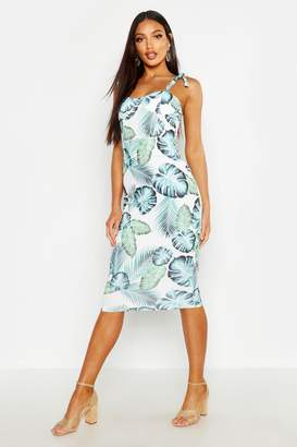 boohoo Cupped Palm Print Midi Dress